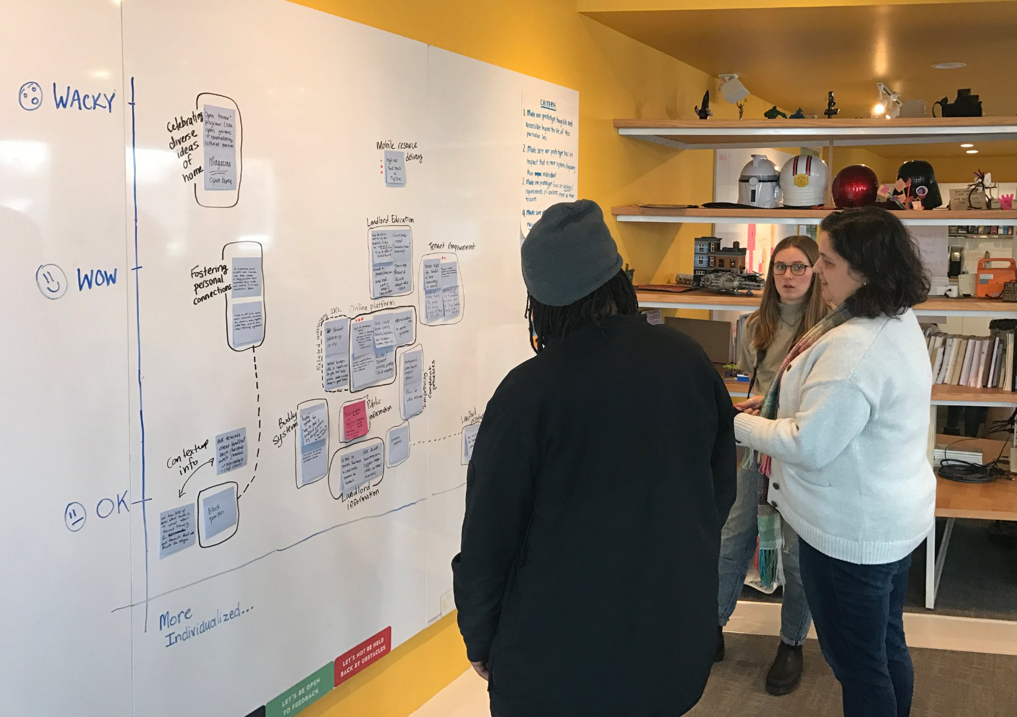 Brandon Wint and Vanessa de Koninck chat with lab graphic recorder Molly McMahon