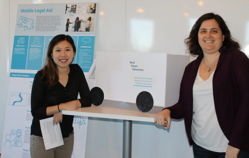 Vivian Kwan and Vanessa de Koninck model their prototype